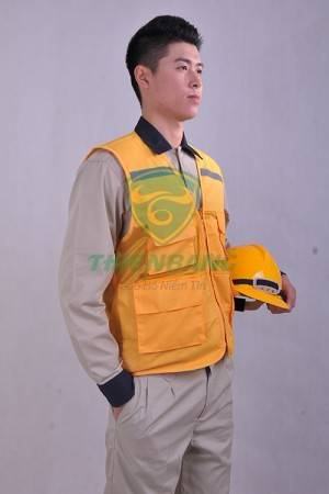 Áo ghile phản quang vàng mẫu 1