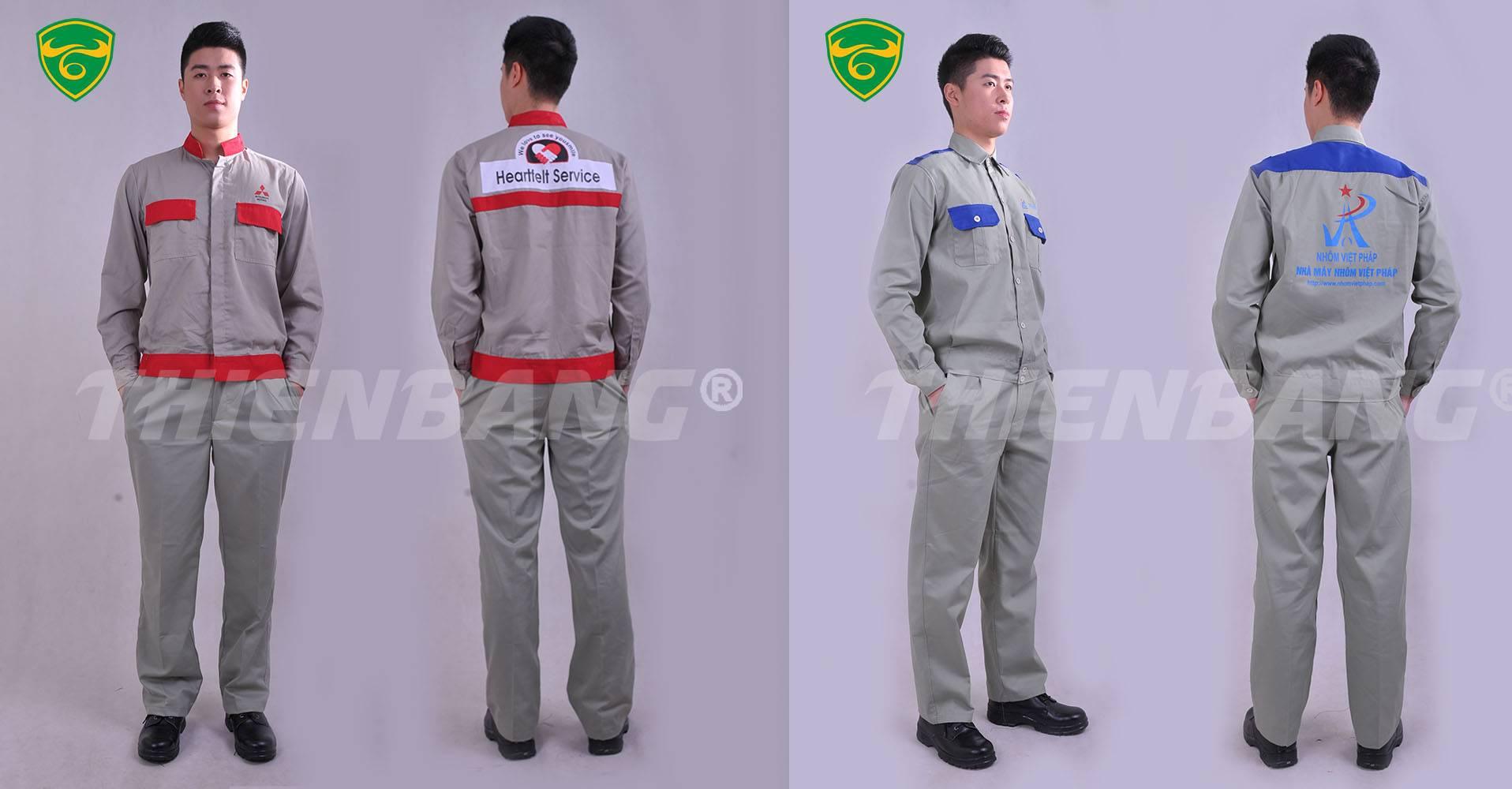 mẫu quần áo bảo hộ lao động cho kỹ sư phối 2 màu
