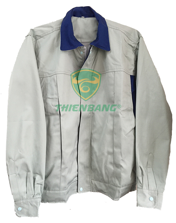 Áo Khoác Bảo Hộ Màu Ghi Cổ Xanh Mẫu 68 Đẹp